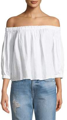 Frame Embroidered Off-the-Shoulder Linen Top