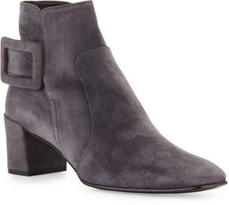 Roger Vivier Polly Suede Side-Buckle Ankle Boot