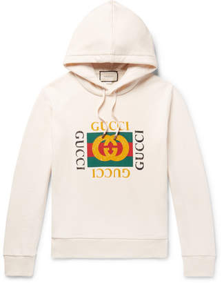 Gucci Printed Loopback Cotton-Jersey Hoodie - Men - Cream