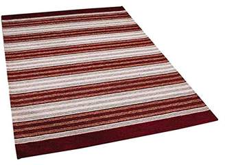 Camilla And Marc The Rug Shop UK Pacific 182 X Striped Rug Shop UK 55 x 85 cm, Polyester, Viscose/Rayon, Red/Beige, 85 x 55 x 85 cm