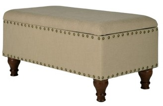 HomePop Large Rectangle Storage Bench with Nailhead Trim, Multiple Colors