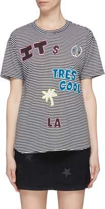 Sandrine Rose 'The Two Hundred' slogan graphic appliqué stripe T-shirt