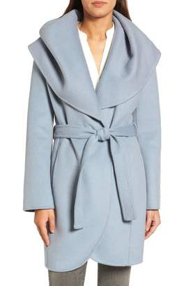 T Tahari Women's Marla Double face Wool Wrap Coat with Oversized Collar (L)