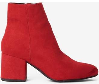 Dorothy Perkins Womens Wide Fit Red 'Aubree'' Block-Heel Ankle Boots