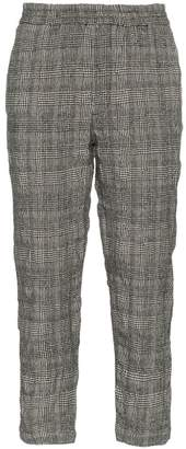 R 13 check cotton wool-blend cropped trousers