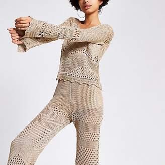 River Island Gold metallic crochet top