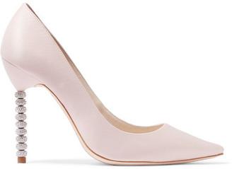 Sophia Webster - Coco Crystal Embellished Satin Pumps - Pastel pink $450 thestylecure.com