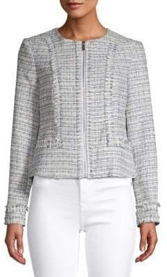 Karl Lagerfeld Paris Tweed Fringe Jacket