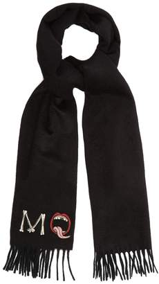 Alexander McQueen Logo-appliqué fringed cashmere scarf