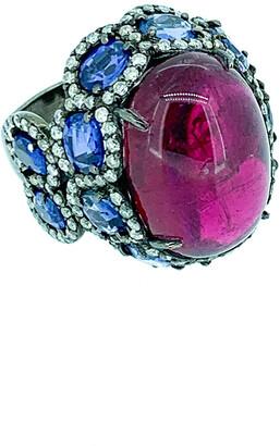 Arthur Marder Fine Jewelry Silver 15.11 Ct. Tw. Diamond & Gemstone Ring