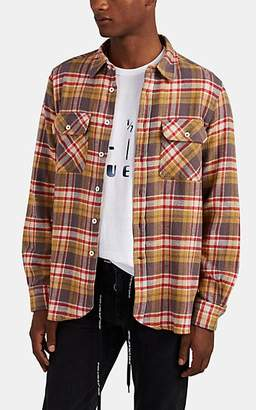 Ovadia & Sons Men's Plaid Flannel Shirt - Red
