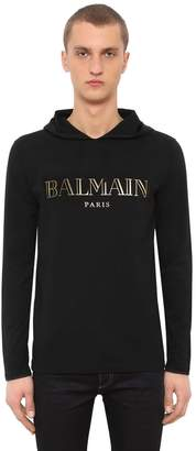 Balmain Printed Hooded Cotton Jersey T-Shirt