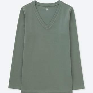 Uniqlo WOMEN Compact Cotton V Neck Long Sleeve T-Shirt