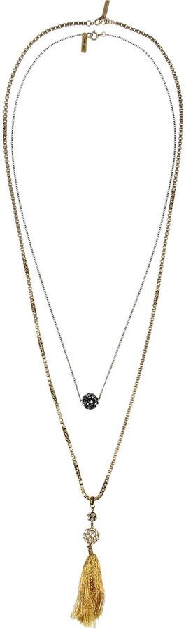 Isabel Marant Set of two tasseled crystal necklaces