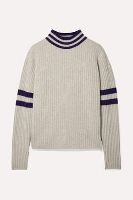 The Elder Statesman Odyssey Striped Ribbed Cashmere Turtleneck Sweater - Beige