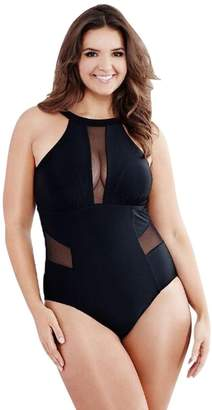 Playsuits - Plus Size Perspective Swimming Mesh Padded Swimsuit Susenstone (XXXL, )