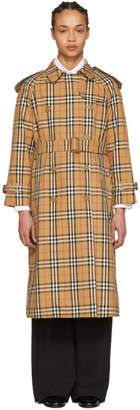 Burberry Tan Check Trench Coat