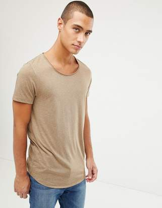 BEIGE ASOS DESIGN longline t-shirt with raw scoop neck and curve hem in linen mix in
