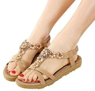 db5984171be6 SHIBEVER Summer Flat Gladiator Sandals for Women Comfortable Casual Beach  Shoes Platform Bohemian Beaded Flip Flops
