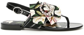 Dolce & Gabbana Patent Sandals With Bow