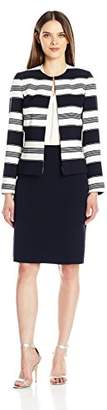 Tahari by Arthur S. Levine Women's Striped Crepe Skirt Suit