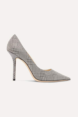 Jimmy Choo Love 100 Glittered Checked Leather Pumps - Silver