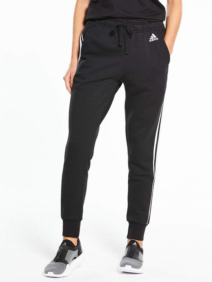 Essentials 3 Stripe Tapered Pants - Black