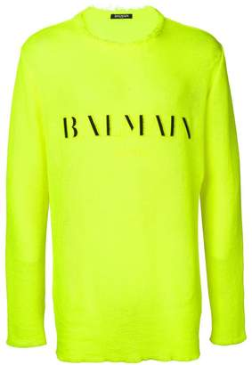 Balmain embroidered logo jumper