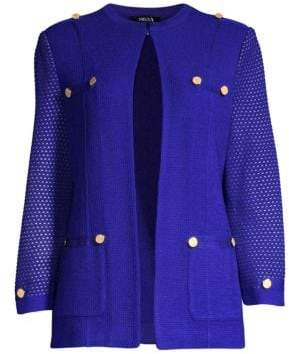Misook Women's Button Detail Knit Jacket - Blue Flame - Size XS