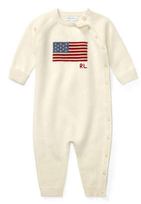 Ralph Lauren Childrenswear Knit Flag Coverall, Size 3-9 Months