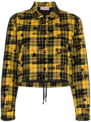 Palm Angels tartan logo print cropped virgin wool jacket