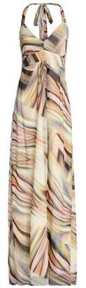 Heidi Klein Printed Chiffon Halterneck Maxi Dress
