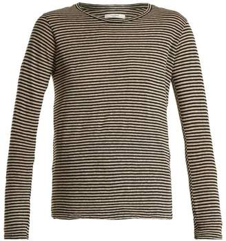Etoile Isabel Marant Karon Long Sleeved Striped Linen Blend T Shirt - Womens - Cream Stripe