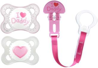 Mam Love & Affection Orthodontic Pacifier with Clip Value Pack, I Love Daddy, Girl