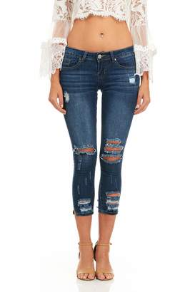 Cover Girl Women's Ripped Cropped Skinny Jeans
