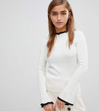 Fashion Union Petite Slim Fit Sweater With Contrast Hems