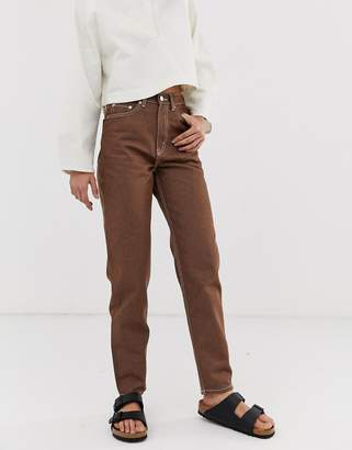 Weekday recycled Edition straight leg jeans in brown