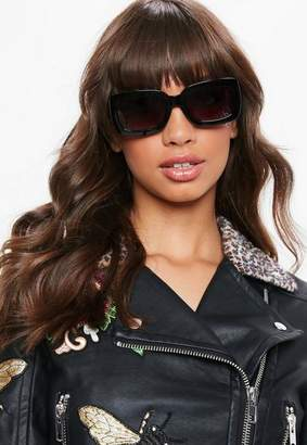 Missguided Black Thick Frame Square Sunglasses