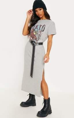 PrettyLittleThing Grey Tokyo Oversized Midi Dress