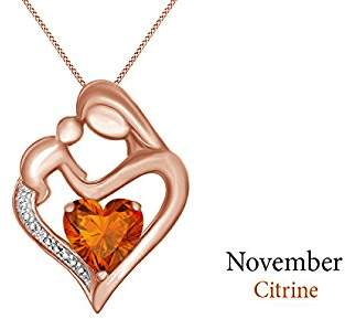 Jewel Zone US & White Natural Diamond Accent Mother & Child Heart Pendant in 14k Rose Gold Over Sterling Silver (11/10 Cttw)