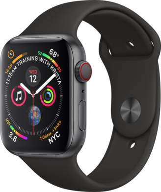 Apple AppleWatch Series4 GPS+Cellular, 44mm Space Gray Aluminum Case with Black Sport Band