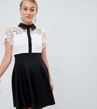 Paper Dolls Petite 2 in 1 crochet lace top skater dress with contrast collat detail in monochrome