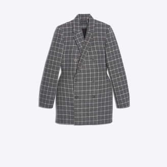 Balenciaga 3D double breasted jacket in checked wool