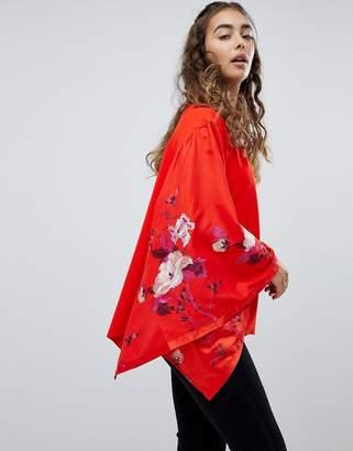 Free People Sydneys Floral Batwing Sleeve Top