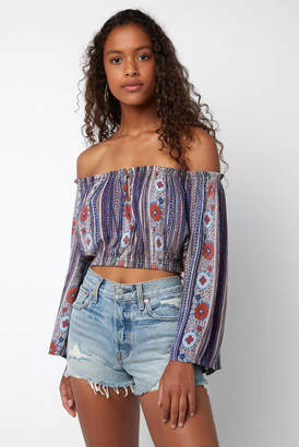 Patrons Of Peace Striped Border Off Shoulder Bell Sleeve Blouse
