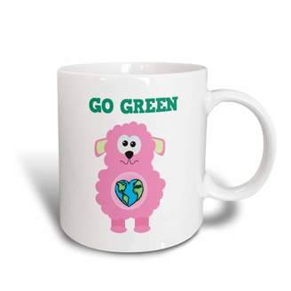 Green Baby 3dRose Earth Day Go Pink Lamb Goofkins Cartoon, Ceramic Mug, 11-ounce