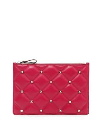 Valentino Candystud Medium Flat Quilted Leather Pouch Bag