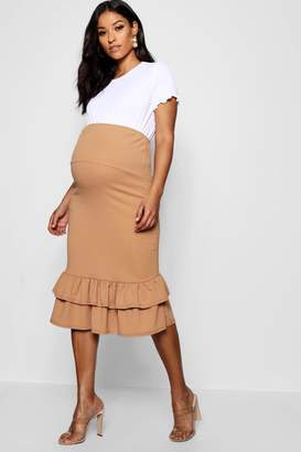 boohoo Maternity Over The Bump Skirt With Frill