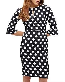 Phase Eight Katlyn 3/4 Sleeve Spot Dress