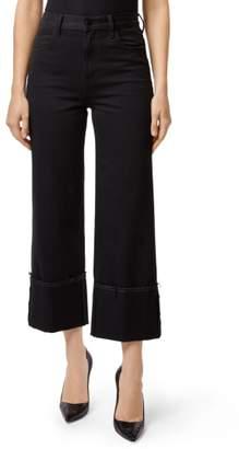J Brand Joan Cuffed High Waist Crop Flare Jeans